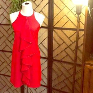 Sz 0 red Julie brown sleeveless dress w ruffle